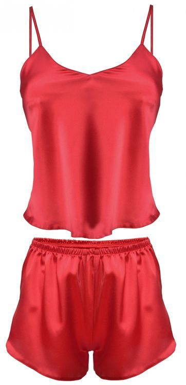 Set KAREN Top aus Satin und Shorts,  rot
